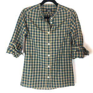 A.P.C. Cotton Plaid Button Down Grandad Collar